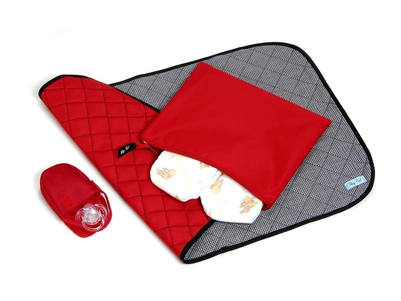 Grab 'n Go Nappy Purse - Red (with red pacifier)