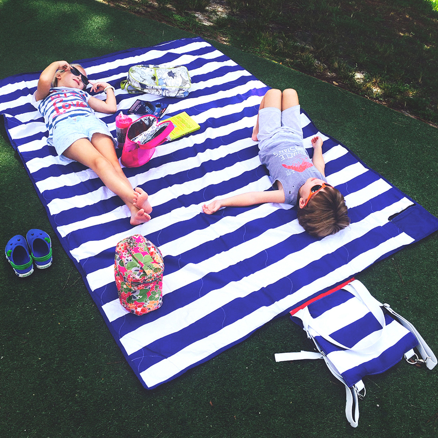 Brilliant Cabana Blue Stripe Picnic Blanket 100 Waterproof
