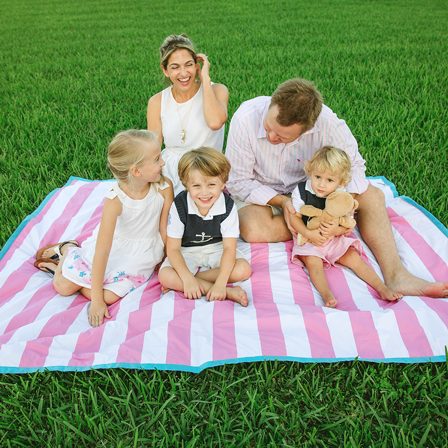 Picnic Blanket 100% Waterproof Brilliant Cabana Pink Stripe Palm Beach Crew